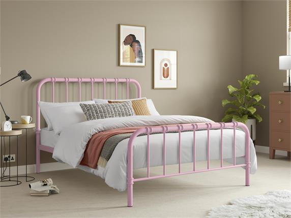 Jordan Pink Metal Bedframe