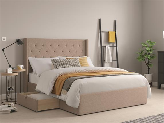 Parsons Fabric Drawer Bedframe
