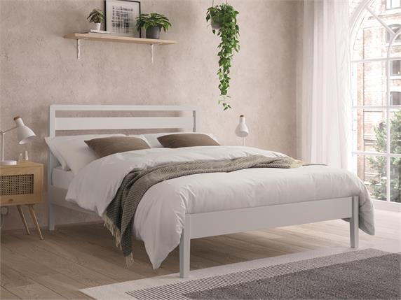 Ronney White Wooden Bedframe