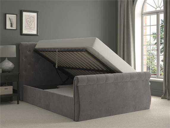 Stringer Velvet Ottoman Bedframe