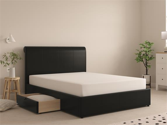Worley Faux Leather Drawer Bedframe
